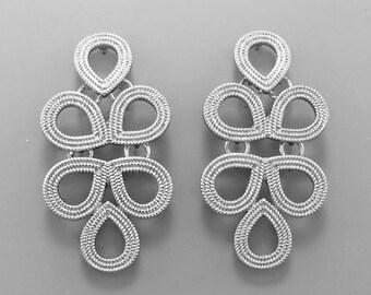 Silver Tear Drop Cascade Earrings