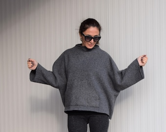 Oversized Grey  Poncho/Loose Sweater/ Plus Size Poncho/Extravagant Maxi Blouse/Woolen Sweater