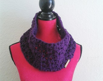 Purple cowl scarf - crochet chunky cowl - purple neck warmer - purple cowl - chunky neck warmer - purple scarf - winter cowl - gifts for her