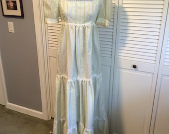 REDUCED! 1972 Tiered Peasant Bridesmaid Maxi Dress