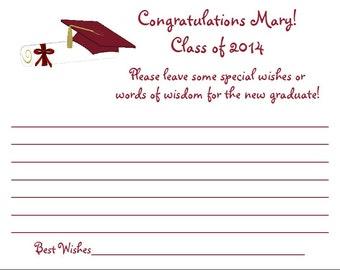 24 Personalized Class of 2018 GRADUATION Wish/Wisdom Cards