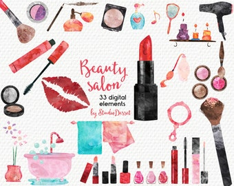Make Up Cliparts for Personal and Commercial Use, Watercolor Cliparts Cosmetics, Beauty Clip Art, Fashion Illustration, Lipstick, Eyeshadow