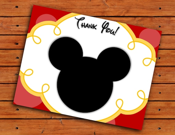 Excellent Mickey Mouse Head Thank You Cards Red and Yellow Printable UK23