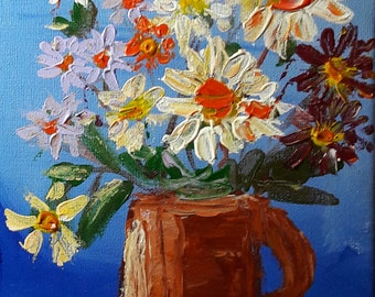 Still life of flowers and vase Acrylic on canvas 8 inches by 10 inches
