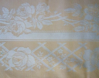 "Vintage Italian or French DAMASK Cotton Tablecloth, 47x77"", Roses Border"