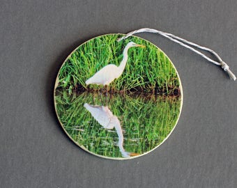 Eastern Great Egret and reflection Photo Ornament