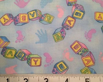 Baby Fabric, 100% Cotton, Blue Hoffman Fabric x one yard
