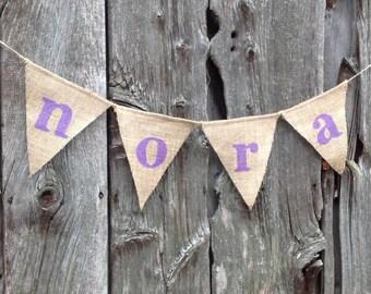 Custom Name Banner, Nursery Decor, Baby Shower Decor, Personalized Banner, Wall Decor, Woodland Nursery, Birthday Banner, Burlap Banner