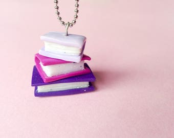 Book Necklace, book pendant, gift for her, miniature paper in Fimo