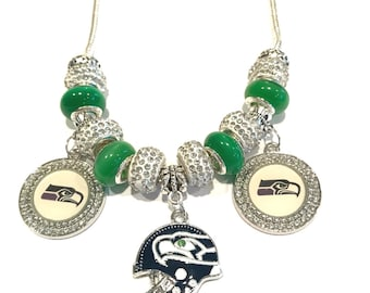 Green Murano Glass and Rhinestone Seattle Seahawk Charm Necklace