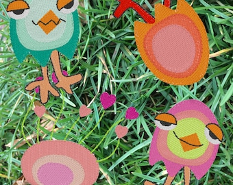 Colourful, CRAZY, HAPPY, LEGGY and Blooming Eggs in one pack to bring some spring into your everyday. Machine Embroidery, 4 cute 'characters