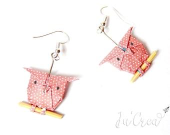 Origami OWL earrings / pastel red OWL
