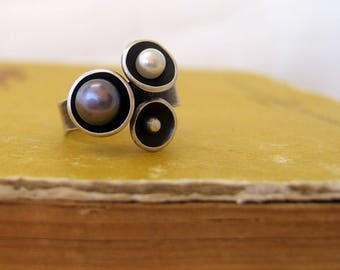 Sterling Silver Pearls Ring