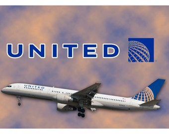 United Airlines With AIrplane Logo Fridge Magnet (LM14103)