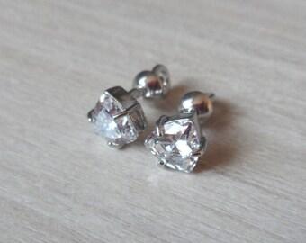 Silver stud earrings studs Diamond