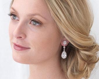 Rhinestone Wedding Earrings, Cubic Zirconia Bridal Earrings, Earrings for Bride, Crystal Earrings for Bride, Teardrop Earrings  ~JE-4057