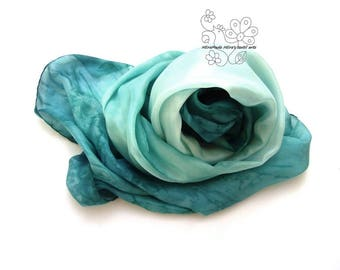 Silk scarf Teal Aqua hand painted ombre dyed feminine pure silk bridesmaid gifts for Mom