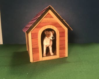Doghouse, miniature dollhouse 1 inch scale