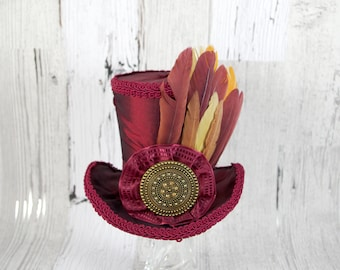 Oxblood Wine Red Tribal Feather Large Mini Top Hat Fascinator, Alice in Wonderland, Mad Hatter Tea Party, Derby Hat, Victorian