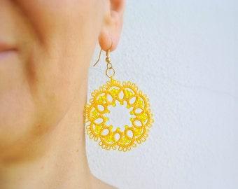 Yellow sun tatted earrings   lace jewelry   Frivolitè   Beaded fibre jewelry   Lightweight filigree