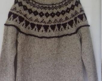 Icelandic Fairisle Nordic Scandanavian Christmas jumper sweater. Handmade.Lambswool.