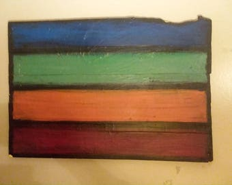 Abstract  painting  on reclaimed wood