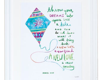 Anais Nin Quote, Gift for Friend, Throw Your Dreams Like a Kite, Watercolor Art Print, Meera Lee Patel
