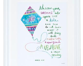 Citation de anais Nin, cadeau pour un ami, jeter vos rêves comme un cerf-volant, aquarelle Art Print, monta Lee Pierre