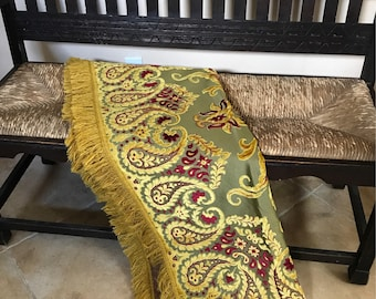 Vintage Belgian Cut Velvet Throw with Fringe