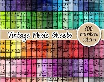 VENTE 100 feuille papier numérique vintage papier numérique aquarelle arc en ciel musique patron imprimable pastel 12 x 12 scrapbooking neutre lumineux