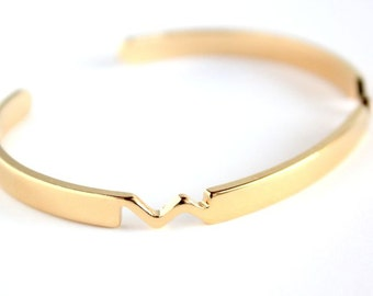 """Bangle bracelet """"MOON""""/ Gold plated with fine gold/ Gift for her"""
