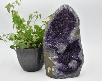Beautiful AAA Grade Amethyst Cathedral with Stalachtite Eyes. Cut Base. 17.7lbs.