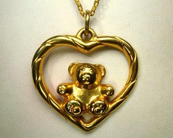 Valentine Gold Heart w Teddy Bear Pendant  on a Chain