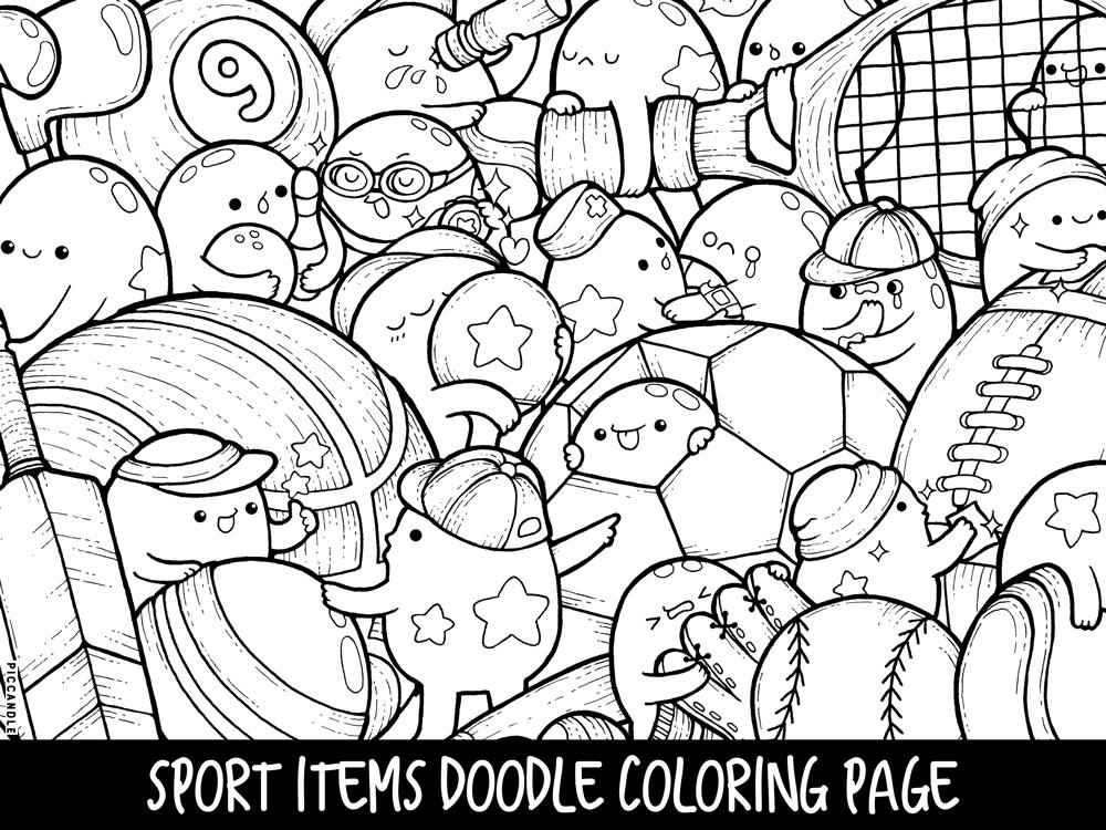 Sport Items Doodle Coloring Page Printable Cute Kawaii