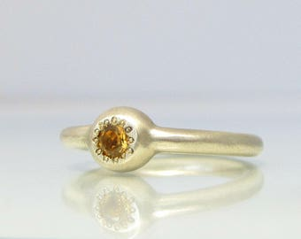 Gold Anniversary Ring, Citrine Jewelry, Citrine Gold Ring, November Birthstone Ring, Birthstone Stacking, Natural Citrine Ring, Ladies Rings