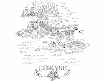 Dubrovnik Black and White A4 Print