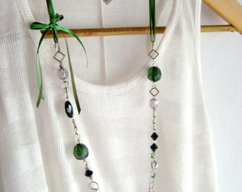 Bohemian style Long green necklace Go Green - Unique design long necklace green beads and ribbon