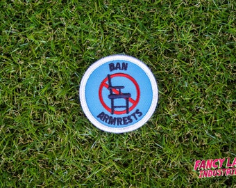 Ban Armrests - Girth Guides patch, Fat Activism, Fat Acceptance, Fat Liberation