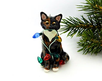 Tortoiseshell Tortie White Cat Porcelain Christmas Ornament Figurine Lights