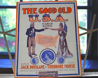 Antique sheet music The Good Old USA March Song paper ephemera vintage music poster art Framable scrapbooking decoupage DIY paper home decor