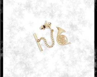 Gold  French Horn Tie Tack