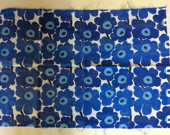 50cm x 70cm Blue Marimekko Unikko fabric coupon
