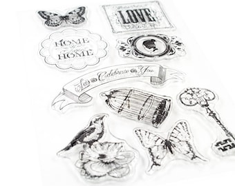 Clear stamp love bird