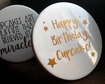 Happy Birthday Cupcake Stand   Birthday Gift   Muffin Stand   Birthday Decor   White Copper Stand   Dessert Stand   Party Decor   Ceramic