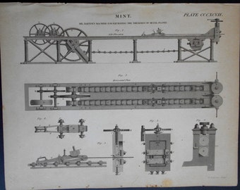 1820 Minting Coins Engraving: Original Antique Print of Machinery for making metal coins. (Mint)