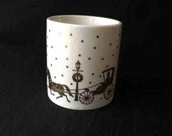 Vintage Porcelain Votive White with Gold Motif Studio Nova MZ430 Golden Journey