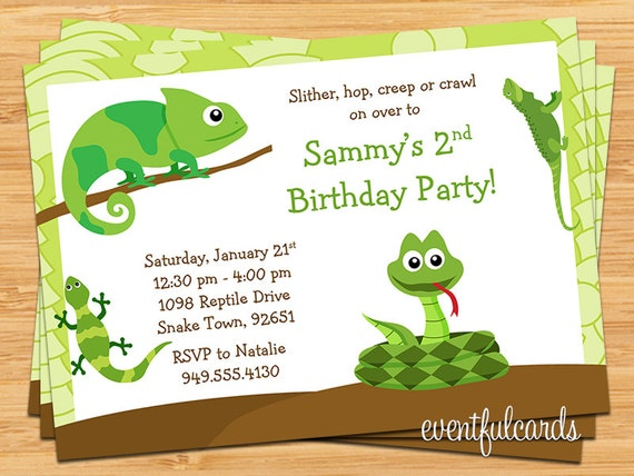 Reptile Birthday Party Invitation