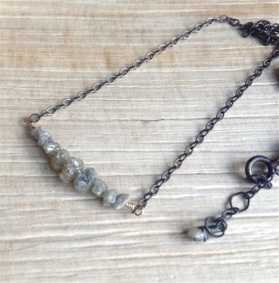 Diamond Bar Necklace - Raw Diamond Jewelry - April Birthstone Necklace - Minimalist Jewelry Chakra Jewelry - Gift For Her