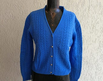 Bright Blue knitted cardigan with metal buttons