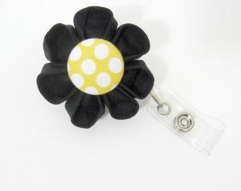Black & Yellow Dot Badge Reel, Retractable ID Holder, Badge Holder, ID Badge, Lanyard, Flower Badge Reel, Flower ID Holder, Nurse-Two Styles